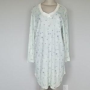 Karen Neuberger aqua floral sleep shirt-XL